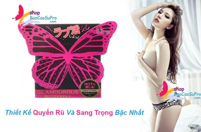 bao cao su bướm đêm jex glamourous butterfly hot type