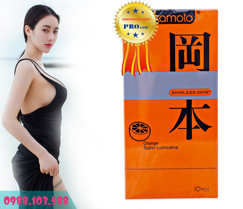 Bao Cao Su Okamoto Orange Super Lubricative hết khô rát với nhiều gel bôi trơn