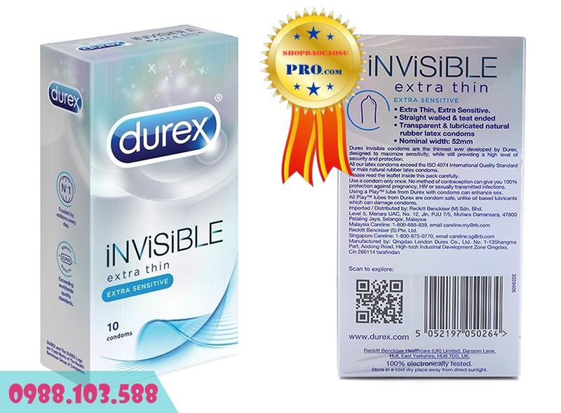 Bao Cao Su siêu mỏng Durex Invisible Extra Thin