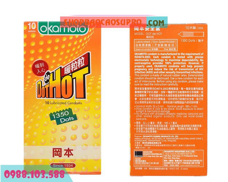 Bao cao su Okamoto Dot De Hot siêu mỏng truyền nhiệt nhanh
