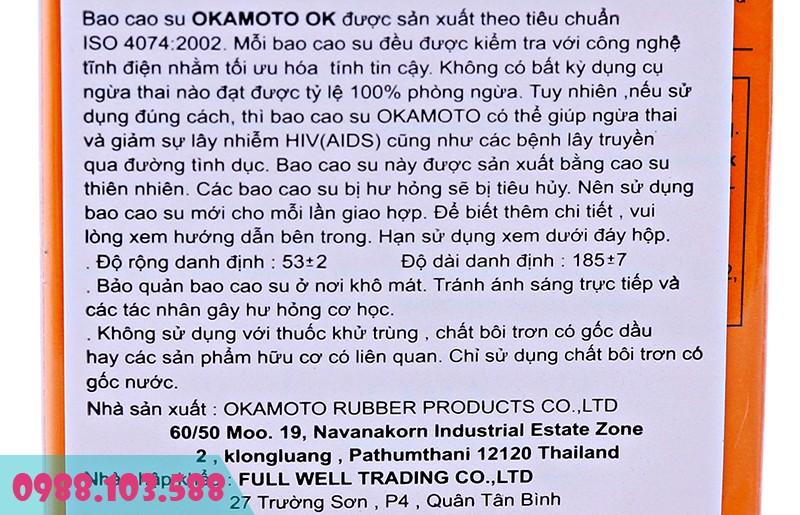 Okamoto Orange Super Lubricative sản xuất từ mủ cao su thiên nhiên