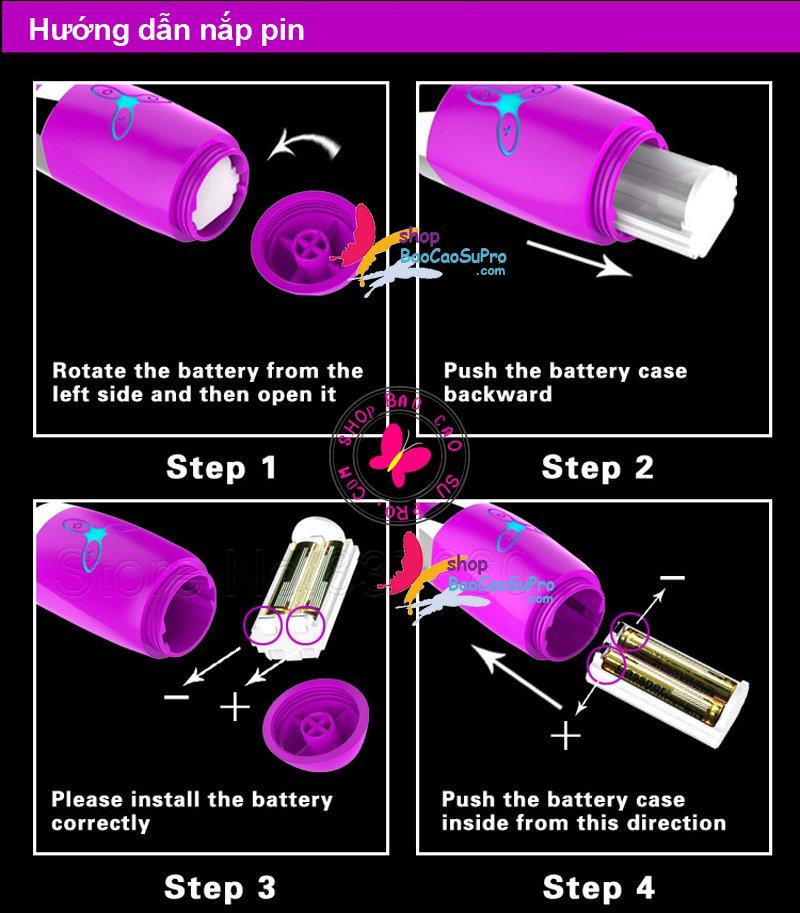 thay pin dương vật giả violet