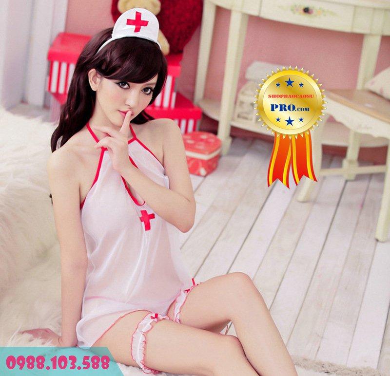 bộ đồ ngủ gợi dục cô y tá với chất liệu thoáng mát
