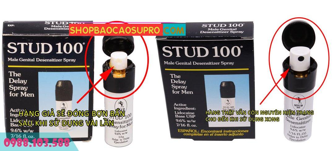phân biệt stud 100 thật giả qua vòi xịt sau vài lần sử dụng