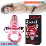 Sex toy Vòng Rung Mát Xa 10 Chế Độ Kết Hợp Lưỡi Liếm Âm Đạo Baile Sweet