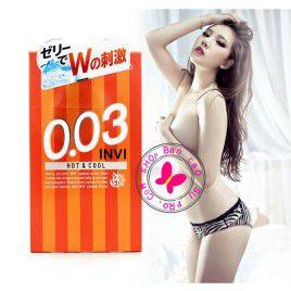 Siêu Đặc Biệt Với Bao Cao Su chống dị ứng Jex Invi 0.03 Hot & Cool - Nồng Ấm Ở Nam và The Mát Ở Nữ