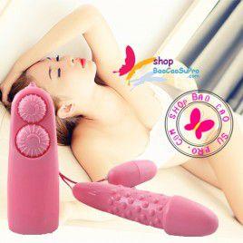 Đồ chơi tình dục - Trứng rung Hình Dương Vật hai đầu gai nổi quanh thân - rung đa năng và massage đa điểm