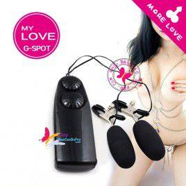 Đồ Chơi Tình Dục Trứng rung đôi massage ngực, vùng kín với 12 tần số rung - có kẹp ti giúp nàng thư giãn ngực